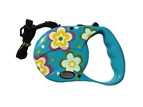 Reelok Blue Beautiful Flower Patterns Automatic Retractable Cord Leash 16 feet 5 M 45 Pounds Durable Heavy Duty Super Strength Dog Pet Safe Walk
