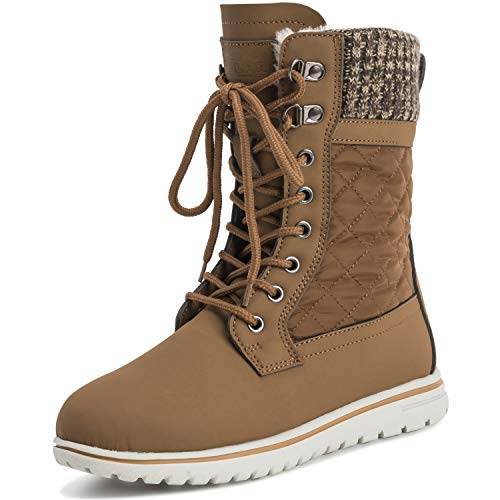POLAR Womens Quilted Short Faux Fur Snow Waterproof Winter Durable Warm Boots - 7 - TAN38 AYC0527