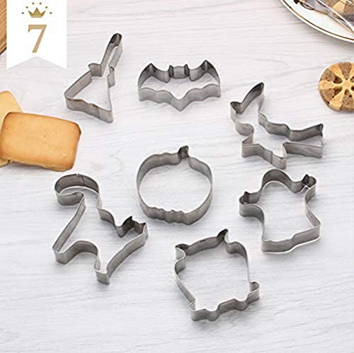 Easy Halloween Cakes Biscuits (Halloween Cookie Cutter Stainless Steel Cake Biscuit Molds Set - Pumpkin, Ghost, Owls, Brooms, 2 Bat, Maple Leaf,)