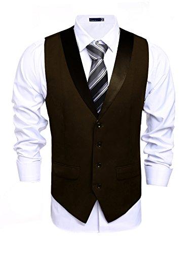 JINIDU Mens Formal Lapel Plaid Suit Vest Slim Fit Skinny Wedding Waistcoat