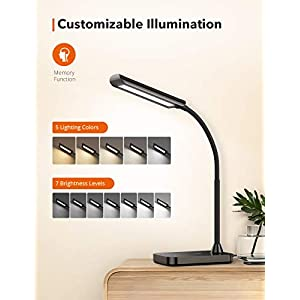 TaoTronics LED Desk Lamp with USB Charging Port, 5 Colour Temperatures x 7 Brightness Levels, Memory Function, Flexible…