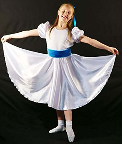 CL COSTUMES Stage-Edwardian-Sound Of Music-Von Trapp White Satin Dress With Blue Sash - All Sizes (Age (Von Trapp Children Costumes)