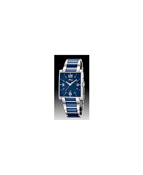 Lotus Ceramic - Reloj analógico de mujer de cuarzo con correa de cerámica azul - sumergible a 30 metros: Lotus: Amazon.es: Relojes