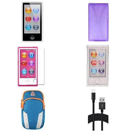 Aiboco Protective Case + Sports Armband for iPod Nano 7 7G,Superior Textured Non-Slip New X Style TPU Soft Cover, Waterproof Sports Armband (Purple) (Orange Nano Ipod Case)