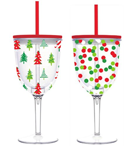 Set of Two Christmas Wine Glasses - 13 oz Acrylic Double Wall Insulated Wine Glass with Lid and Straw - Red and Green Confetti and Red and Green Christmas Trees
