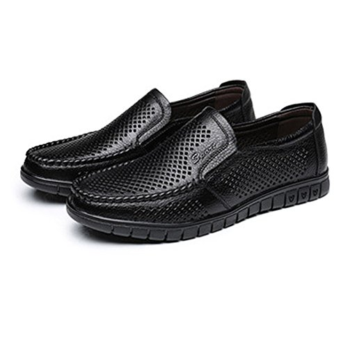 de tamaño clásicos abrasión Zapatos 38 amp;Baby piso único Slip cuero hombre de Marrón Negro EU la Resistente a opcional genuino Color Sunny on holgazán Perforación B1XEWxq1
