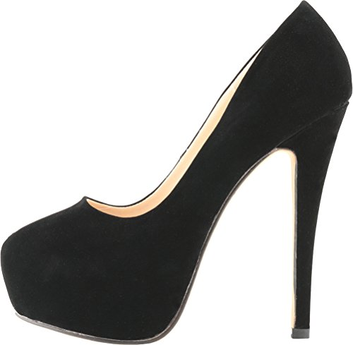 Slip Nubuck Club Heighten ON Sexy Night Heel Fashion High Womens Toe Black Pumps Closed Platform Salabobo Party 7IT06w