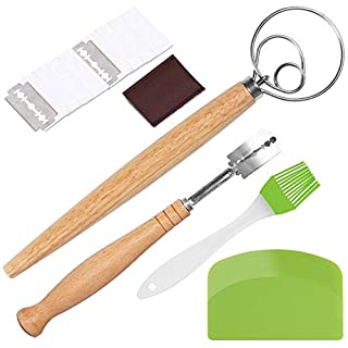15 Pieces Danish Dough Whisk Set - Stainless Steel Bread Lame Set with 10 Replacement Blades,Protective Cover,Dough Scraper, and Oil Brush Tools for Bread, Pastry or Pizza