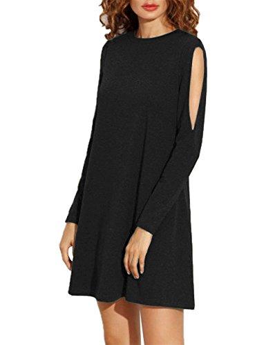 Leadingstar Women Round Neck Cold Shoulder Long Sleeve Loose Drape Tunic Dress Black L