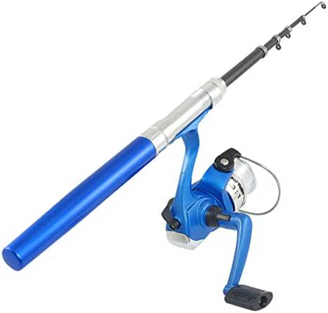 uxcell Aluminum Alloy Portable Mini Pen Fish Rod Pole w Fishing Reel Combos