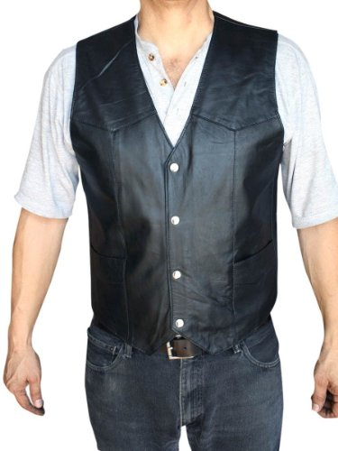 Men's Motorcycle Vest Genuine soft Leather Black syle 950_LARGE