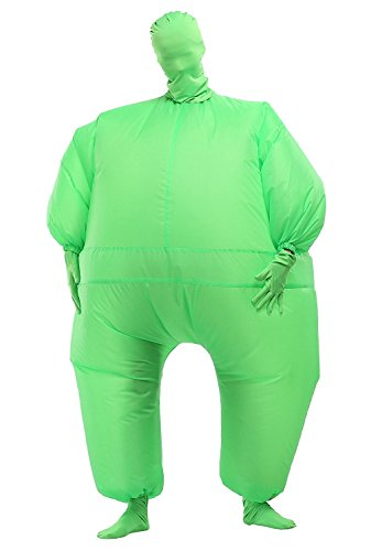 Inflatable Full Body Jumpsuit Cosplay Costume Halloween Funny Fancy Dress Blow Up Party Toy (Green) - Ups Man Costume