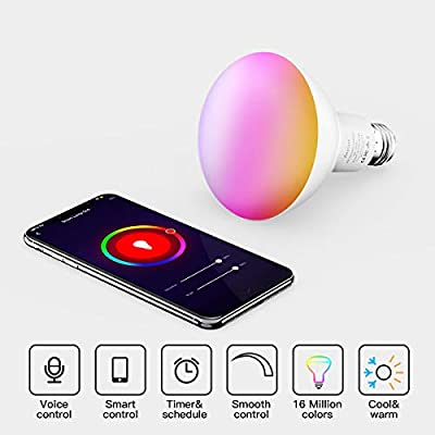 Smart Light Bulbs, Aoycocr BR30 Dimmable LED Light Bulbs, 720 Lumen, Tunable White 2700K - 9000K,9 (80W Equivalent), Works with Alexa, Google Assistant, IFTTT, No Hub Required, Wi-Fi, E26 Base, 4 Pack