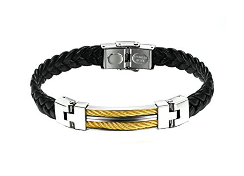 MoAndy Men Stainless Steel Braided Bracelet Buckle Leather Length 22.5cm Width 1cm - Houston District Shopping