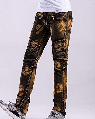 Elasticizzati Gelb Da Strappati Especial Alla Uomo Tagliati Vintage Moto E Moda Di Destrutturati In Casual Denim Jeans Motociclista Estilo Pantaloni xEFqYTHwx