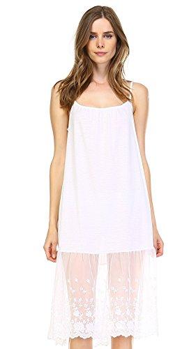 [Shop Lev] Women's Knit Cotton Long Lace Trim Full Slip (IVORY, LARGE)
