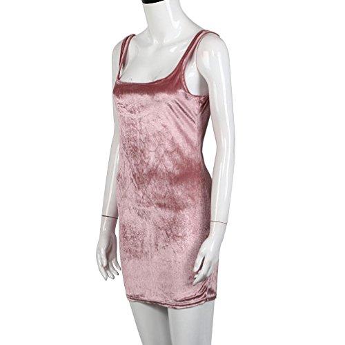 Da Mini tm Vestito Del Binmer Donne Senza Sexy Rosa l Le Maniche Colore Sera Vestito Da Corto Partito xqw8YFHB