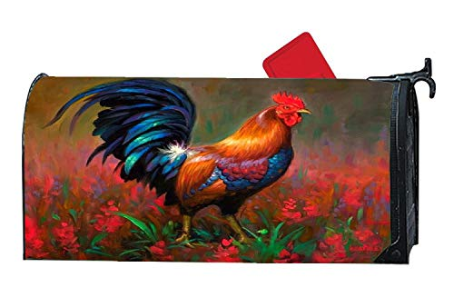 Beauty Rooster Hen Colors Creative Personalized Mailbox Covers Magnetic,Vinyl Mailbox Makeover Covers Fit Standard Sized 6.5