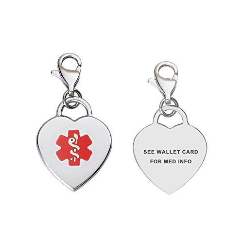Divoti Pre-Engraved See Wallet Card Adorable Heart 316L Medical Alert Charm w/Lobster Clasp-Red ()