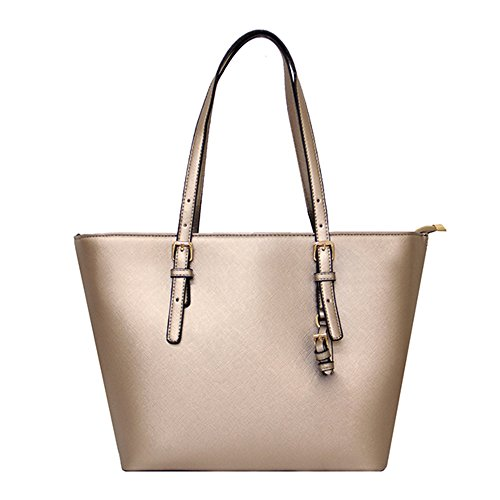 with Leather Tote Ladies Gold Handbags Bags Adjustable Square Laptop Teacher LS Bag PU Candy Large Shopper Color Handle B0aEqw