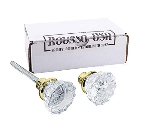 (2 Knobs (1 pair) Depression Crystal & Polished Brass stem with set screws and spindles. Perfect Replica of the most popular Antique Knobs that they are interchangeable with the Antiques, includes premium spindle)