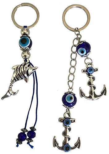BT Blue Evil Eye Keychain Ring for Protection and Blessing, Pair of Dolphin and Anchors Charms for Harmony and Balance, Stability and Strength, Great Gift ()