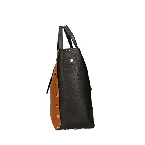 femme Italy Cm Marron Impression main en Bags 34x31x15 Sac véritable à cuir Noir Made Noir POP in Dollar ZqwI6nRvxR