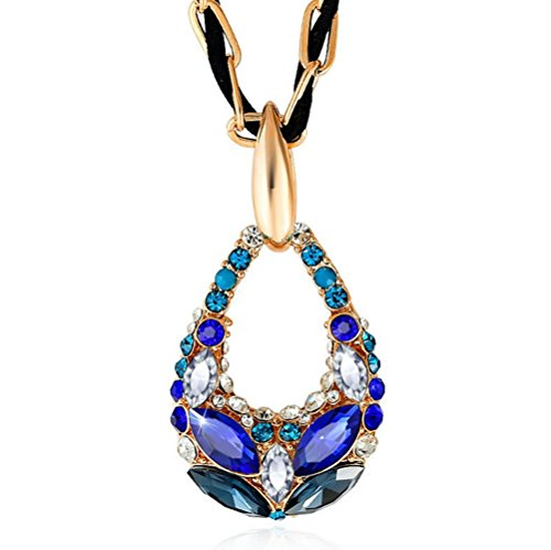 The Starry Night Dream Color Drop Style Romantic Crystal Cut Diamond Accented Necklace (Women,Girl,Deluxe)