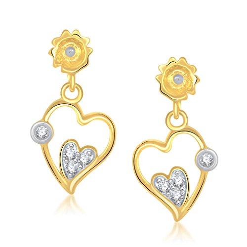 VK Jewels Earrings Cubic Zirconia Drop Earrings for Women  Golden   vker1166g