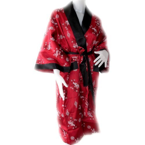 (JAPANESS KIMONO BATH ROBE) BEAUTIFUL FLOWER ROBE CAN BE USED BOTH SIDE (RED AND BLACK) APPROX.SIZE = AMPIT TO AMPIT 27 INCHES LONG 44 INCHES INSIDE BLACK COLOR WITH PATTERN DRAGON by Mr. Thai, Eastern Collection