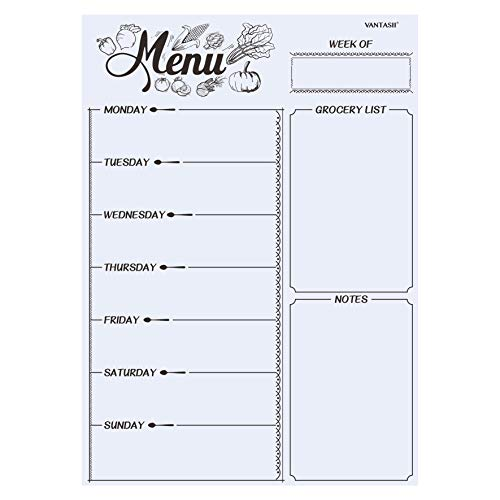 Magnetic Refrigerator Whiteboard,Weekly Menu, Meal Planner, Grocery Shopping...