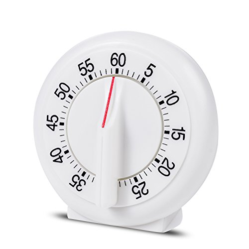 Kitchen Timer Manual Mechanical Loud Alarm Sound Magnetic White Countdown Timer for Home Baking Cooking Steaming 60 Minutes ()