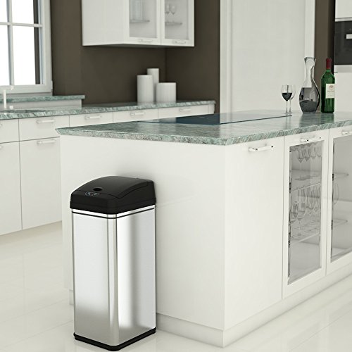 Large Product Image of iTouchless Sensor Trash Can with AC Adapter Battery-Free Automatic Bin with Odor Filter, for Kitchen and Office, 13 Gallon, Stainless Steel with Black Lid