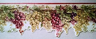 Wallpaper Border Tuscan Grapevine Red Purple & Green Grapes on Cream Red Trim