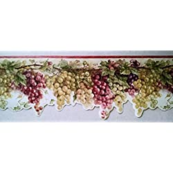 Wallpaper Border Tuscan Grapevine Rust Red Purple & Green Grapes on Cream