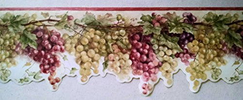 Border Grape Wallpaper (Wallpaper Border Tuscan Grapevine Rust Red Purple & Green Grapes on Cream)