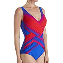 Gottex Womens Ombre Print Layered Panel Surplice One Piece Swimsuit