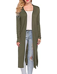 Womens Long Sleeve Open Front Long Duster Soft Cardigan With Pockets