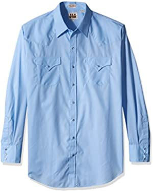 Men's Tall Size Long Sleeve Solid Western Shirt