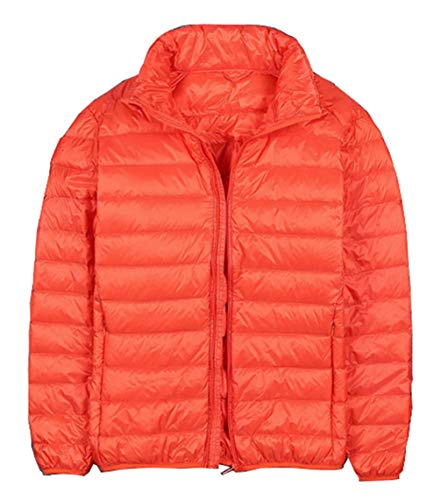 Femaroly Autumn Winter Lightweight Packable Down Jacket Stand Collar Coat Men Boys Orange XXS