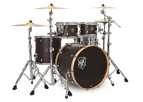 SJC Custom Drums SJC Navigator Series 4 Piece Shell Pack Midnight Espresso Super Satin Stain with Chrome Hardware (NV-K422CH-MESU)
