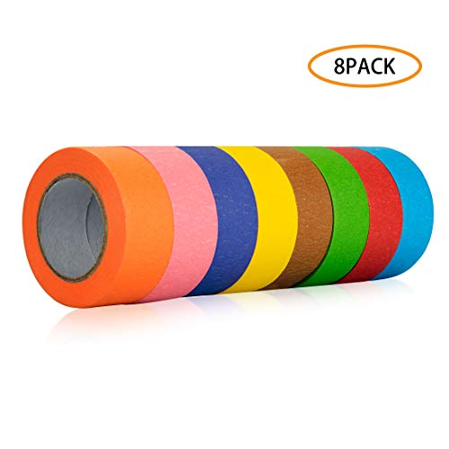 Colored Masking Tape - 8 Roll Colored Masking Tape, 1.5 Inch Wide Craft Rainbow Masking Tape Labeling Tape Roll for DIY, Art, Coding and Labeling, 8 Colors, 80 Yards Total
