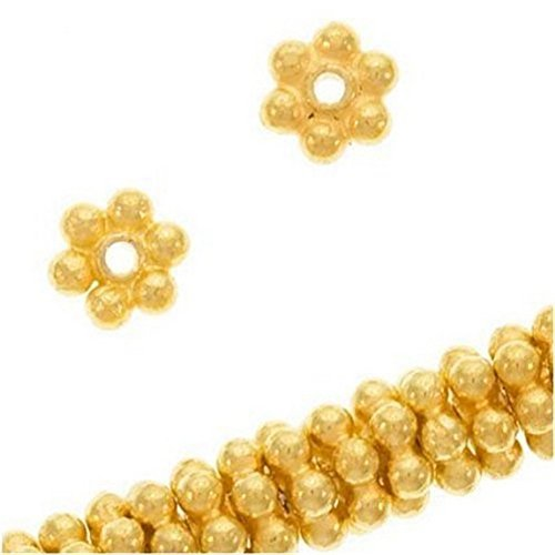 Beautiful Bead 18K Gold Vermeil Bali Silver Daisies 4mm (100pcs) - 18k Gold Bead