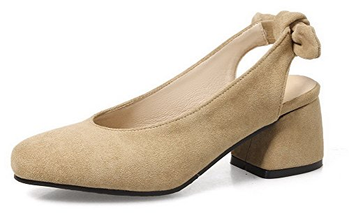 Odomolor Women's Kitten-Heels Frosted Solid Pull-On Round-Toe Pumps-Shoes, Apricot, 33