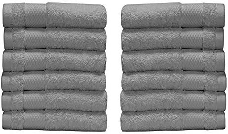 BIOWEAVES 100% Organic Cotton 700 GSM Washcloth Set GOTS Certified - Light Grey (Pack of 12)
