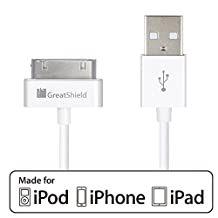 GreatShield® Apple MFI Certified USB Sync and Charge Data Cable for all 30-Pin Apple iPhone, iPhone 3G/3GS, iPhone 4/4S, iPod Touch 1st, 2nd, 3rd, 4th gen, iPod Nano 5th/6th gen, iPad, iPad 2/3 - 3ft (White)