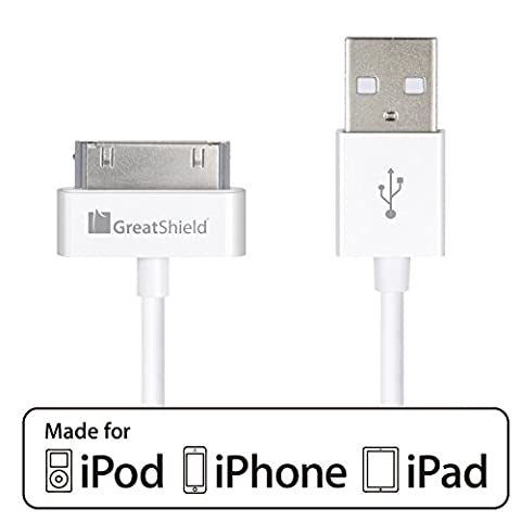 iPhone 4s Cable, GreatShield (3ft/0.9m - 1 Pack) Apple MFI Certified 30-Pin 2-in-1 USB Sync & Charge Data Charging Cable for iPhone 3G/3GS/4/4S, iPad 1/2/3, iPod Touch 1st-4th, iPod Nano 1st-6th (Ipod 5th Generation Charges)
