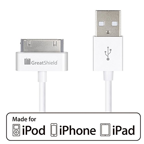 iPhone 4s Cable, GreatShield (3ft/0.9m - 1 Pack) Apple MFI Certified 30-Pin 2-in-1 USB Sync & Charge Data Charging Cable for iPhone 3G/3GS/4/4S, iPad 1/2/3, iPod Touch 1st-4th, iPod Nano 1st-6th Gen - 2 Gen Nano