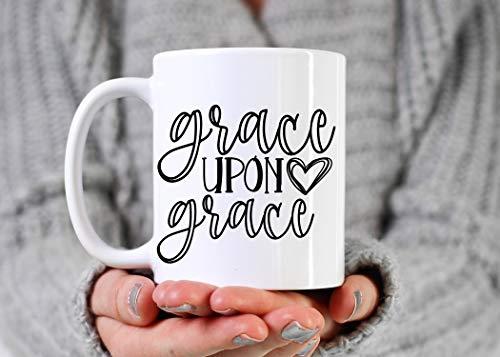 PAVULI - Grace Upon Grace White 11 oz or 15 oz Coffee Cup Mug Christian Coffee Mug Tea Cup Tea Mug Scripture Mug Faith Ceramic Coffee Cup AA319 MUG 15oz