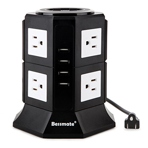 Bessmate Power Strip 8-Outlet Surge Protector with 6.5-Foot Power Cord and 4 USB Charging Ports(5V/4.5A), 1000 Joules (Black+White)